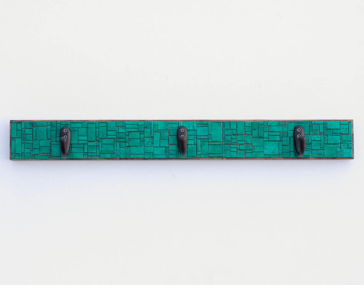 Emerald Green Wall Coat Rack Handmade Paper Patchwork Mosaic Recycled Wood